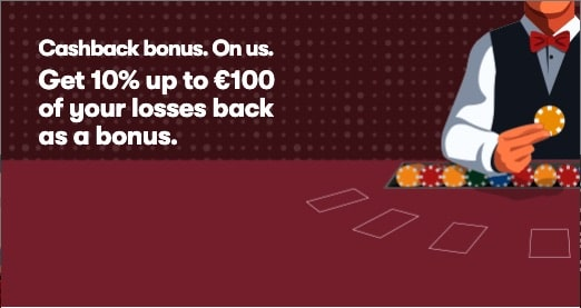 10Bet Casino Cashback Bonus - Get 10% up to €100