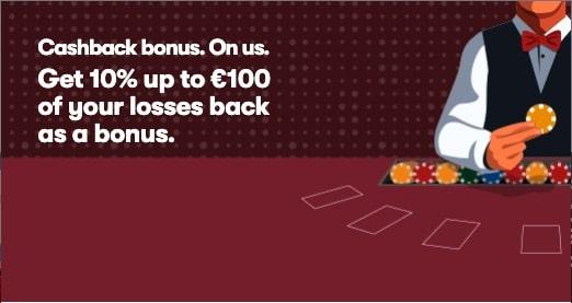 10Bet Casino Cashback Bonus - Get 10% up to €100