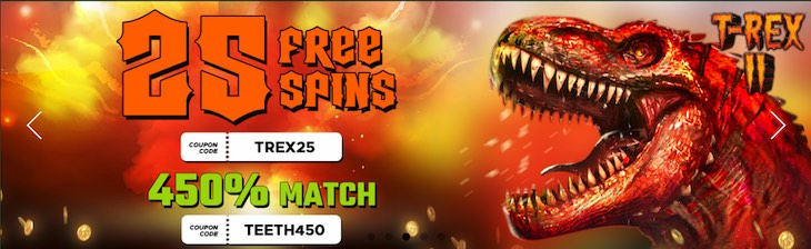 Indio Casino 25 free spins on T-Rex 2 slot