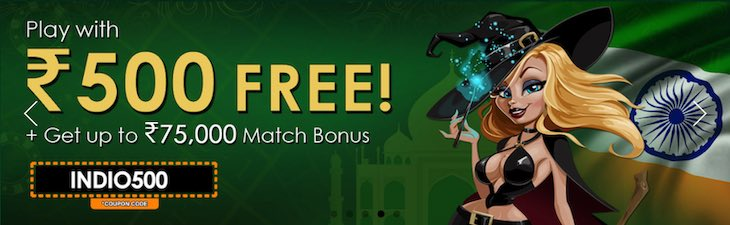 Indio Casino ₹500 no deposit sign-up bonus