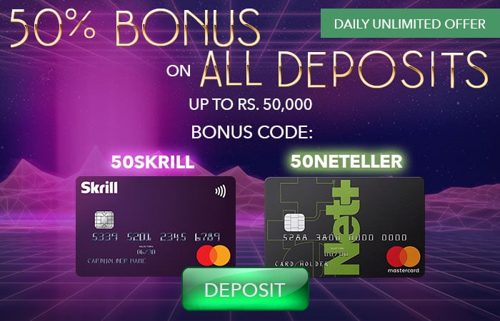 Get 50% on All Deposits With Skrill and Neteller on ShowLion