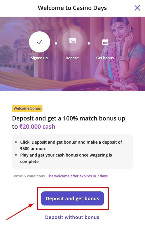 How to deposit on casino days step 1