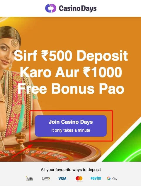 how to sign up to casino days step 1