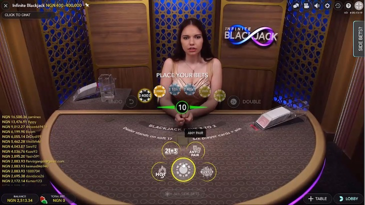 how to play infinite blackjack step 1