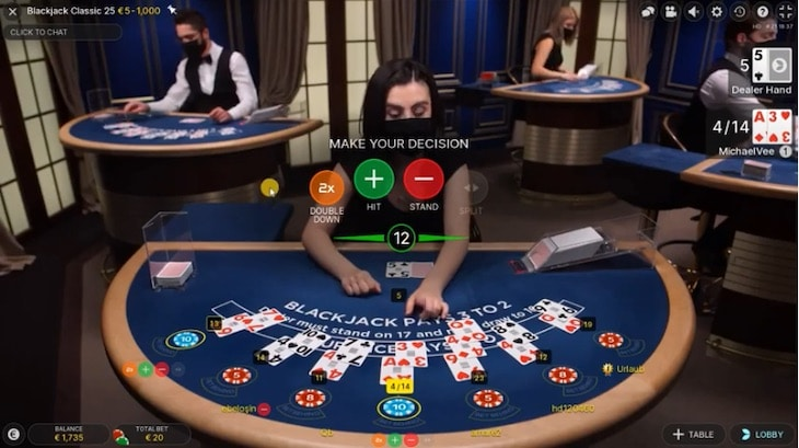How to play live speed blackjack step 3