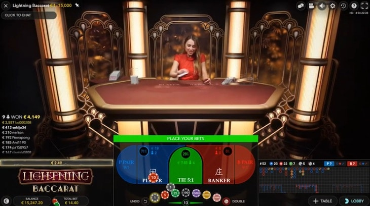 how to play lightning baccarat step 1