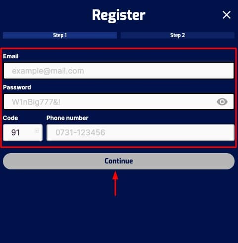how to sign up to pure win step 2